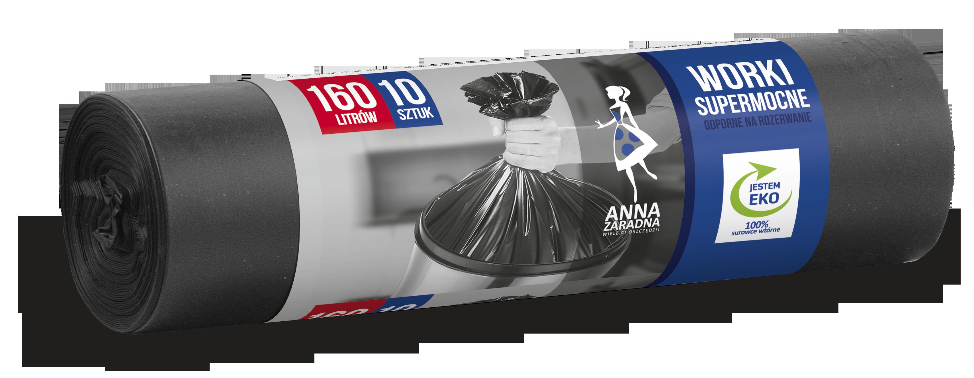 Worki na śmieci SUPERMOCNE LDPE 160L 10szt. czarne ANNA ZARADNA