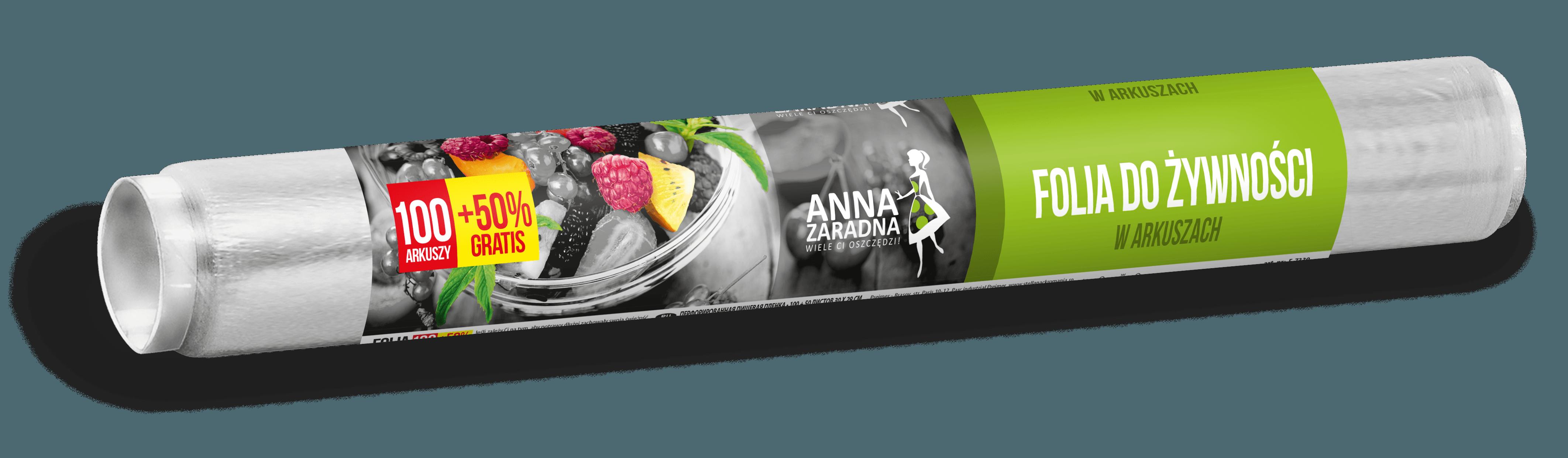Folia do żywności w arkuszach 100 ark + 50% GRATIS Anna Zaradna
