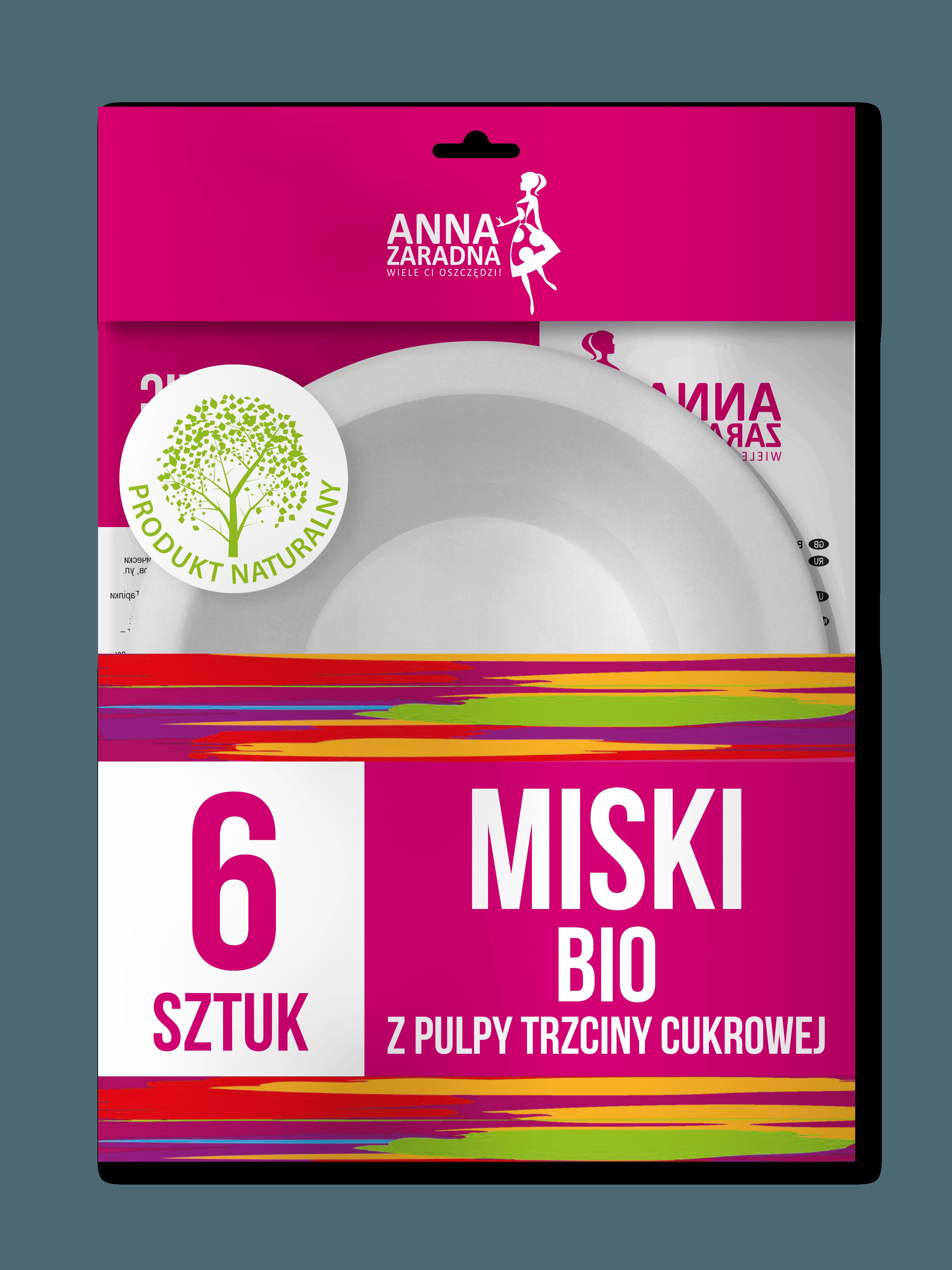 Miski BIO z pulpy trzciny cukrowej 6 szt Anna Zaradna