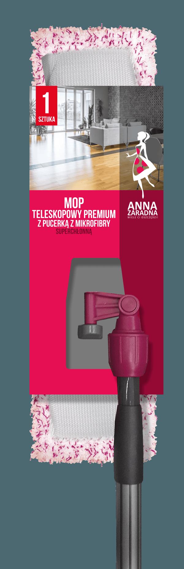 AZ Mop teleskopowy PREMIUM z pucerką z mikrofibry SUPERCHŁONNĄ Anna Zaradna