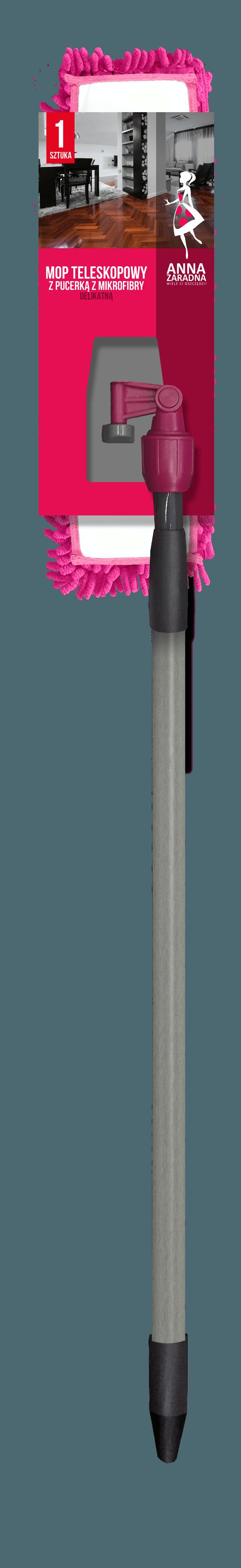 Mop teleskopowy z pucerką z mikrofibry DELIKATNĄ Anna Zaradna