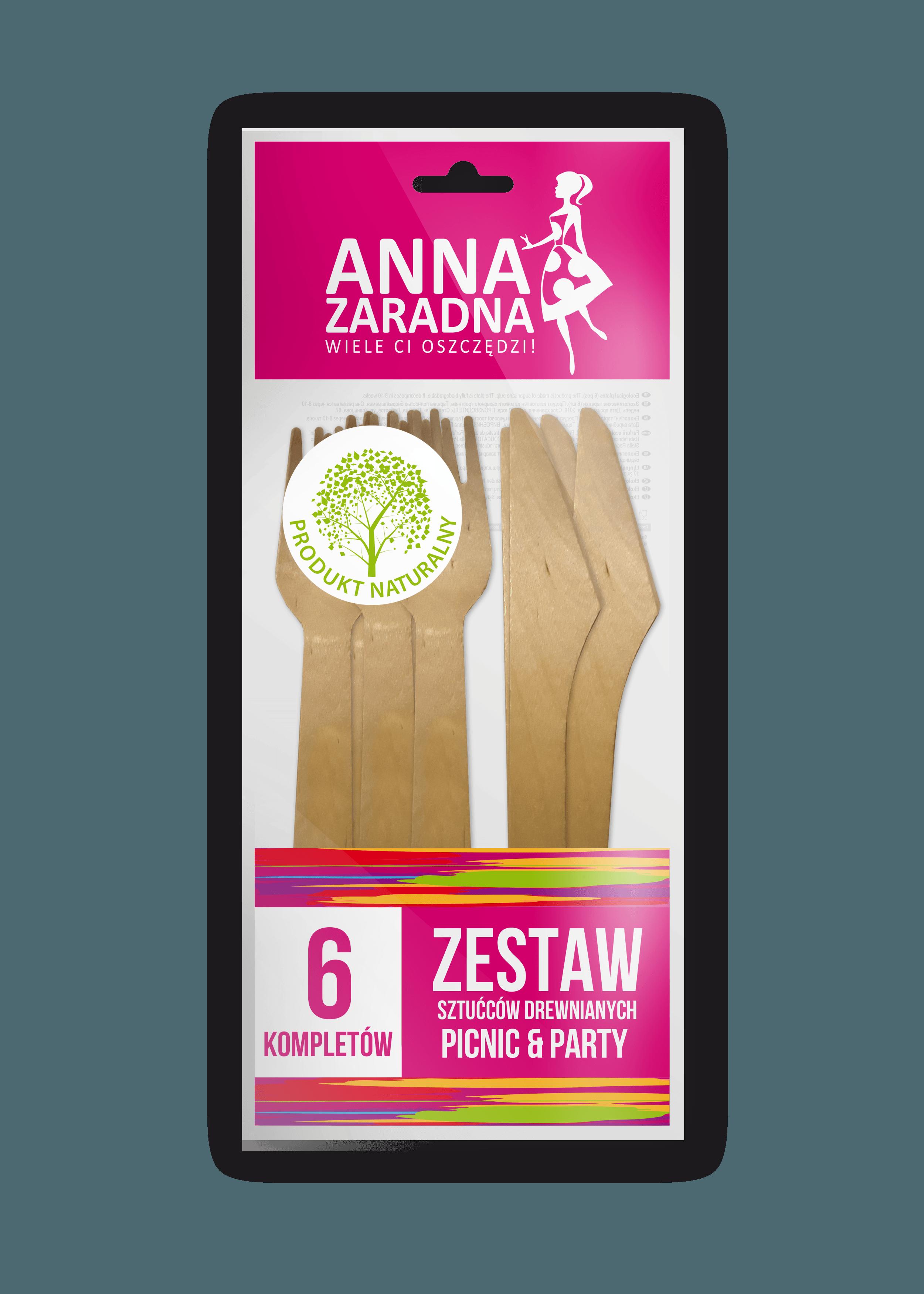Zestaw sztućców drewnianych Anna Zaradna