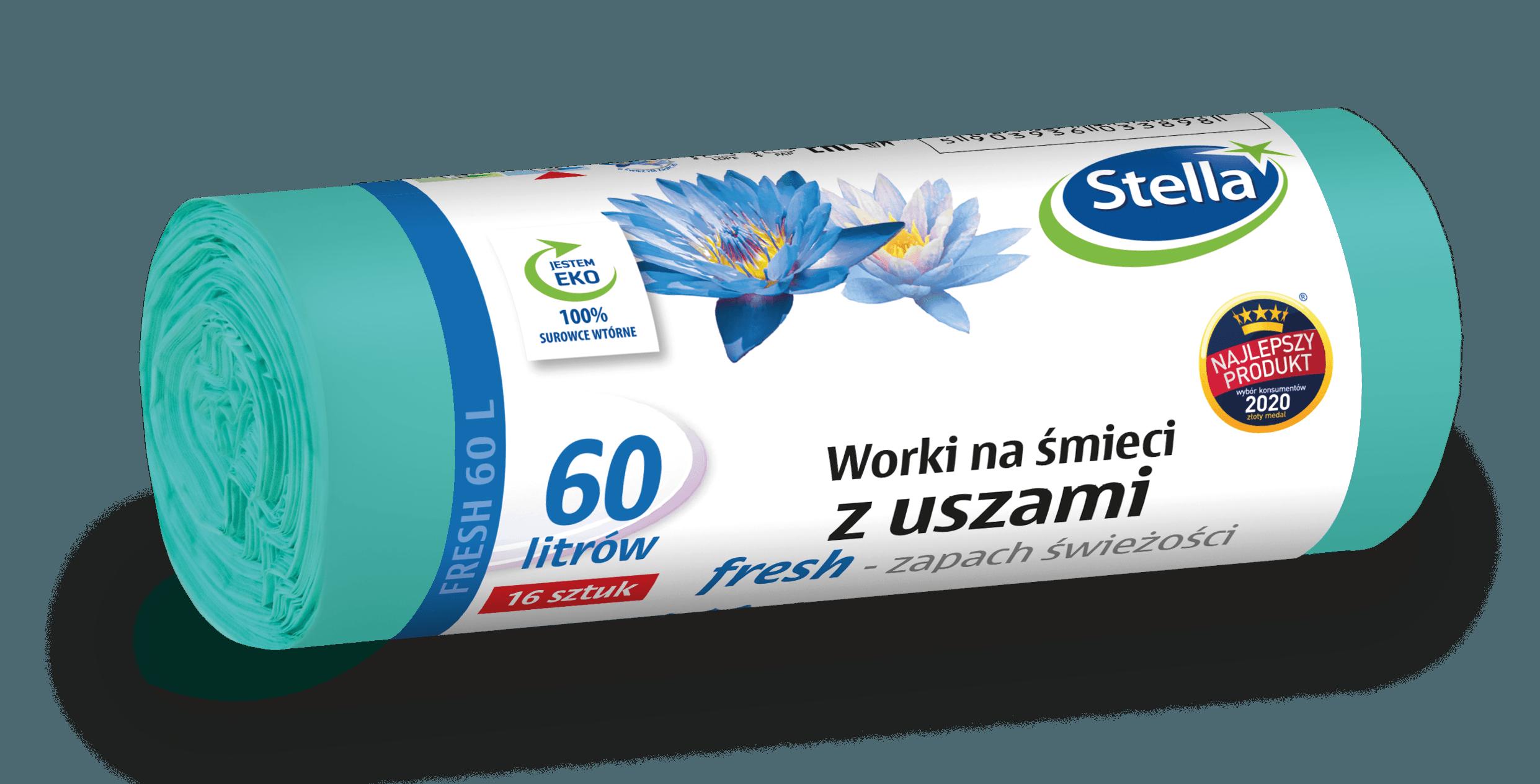 Worki na śmieci z uszami FRESH - świeży zapach 60L 16szt STELLA