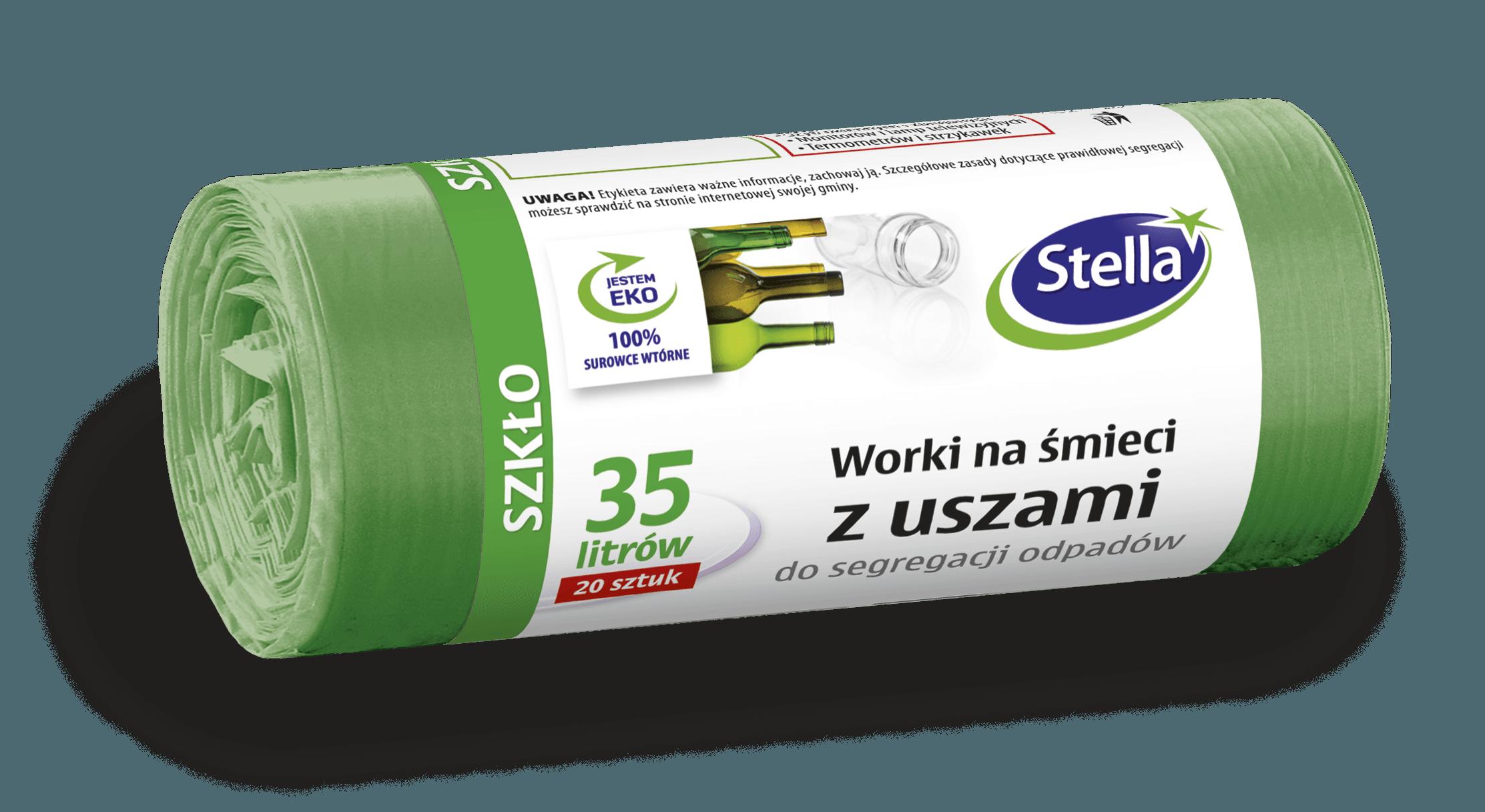 Worki z uszami do segregacji odpadów SZKŁO 35L 20szt zielone STELLA