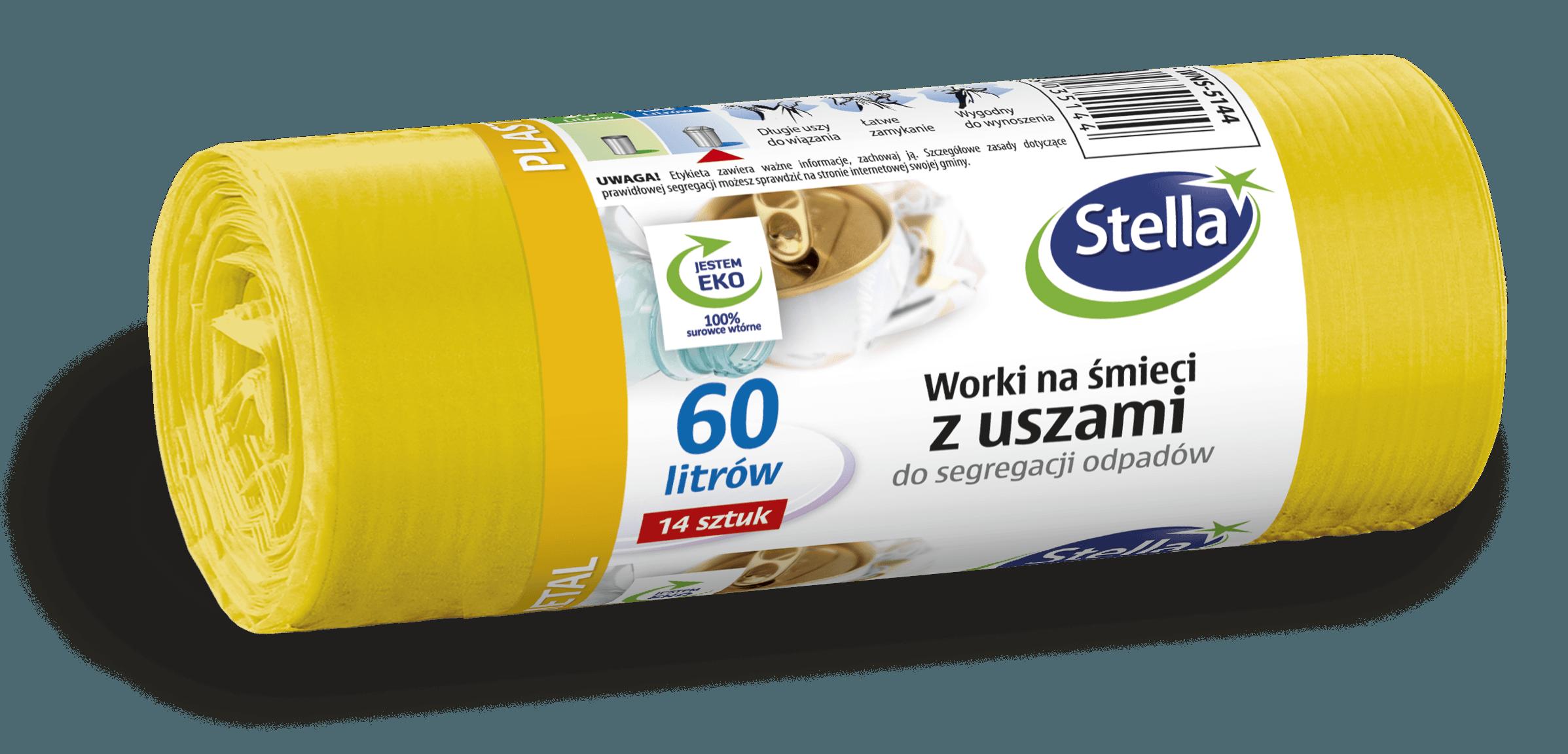Worki z uszami do segregacji odpadów PLASTIK METAL 60L 14szt żółte STELLA