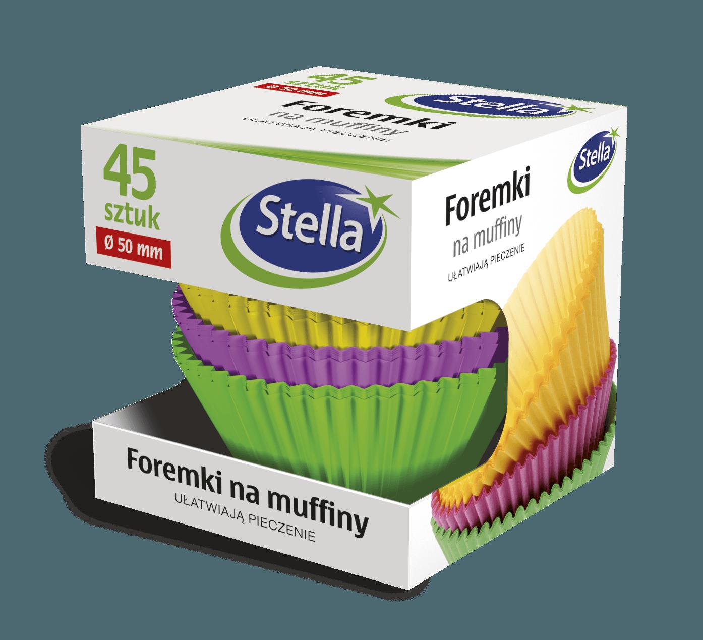 Foremki na muffiny kolorowe 45szt. box STELLA