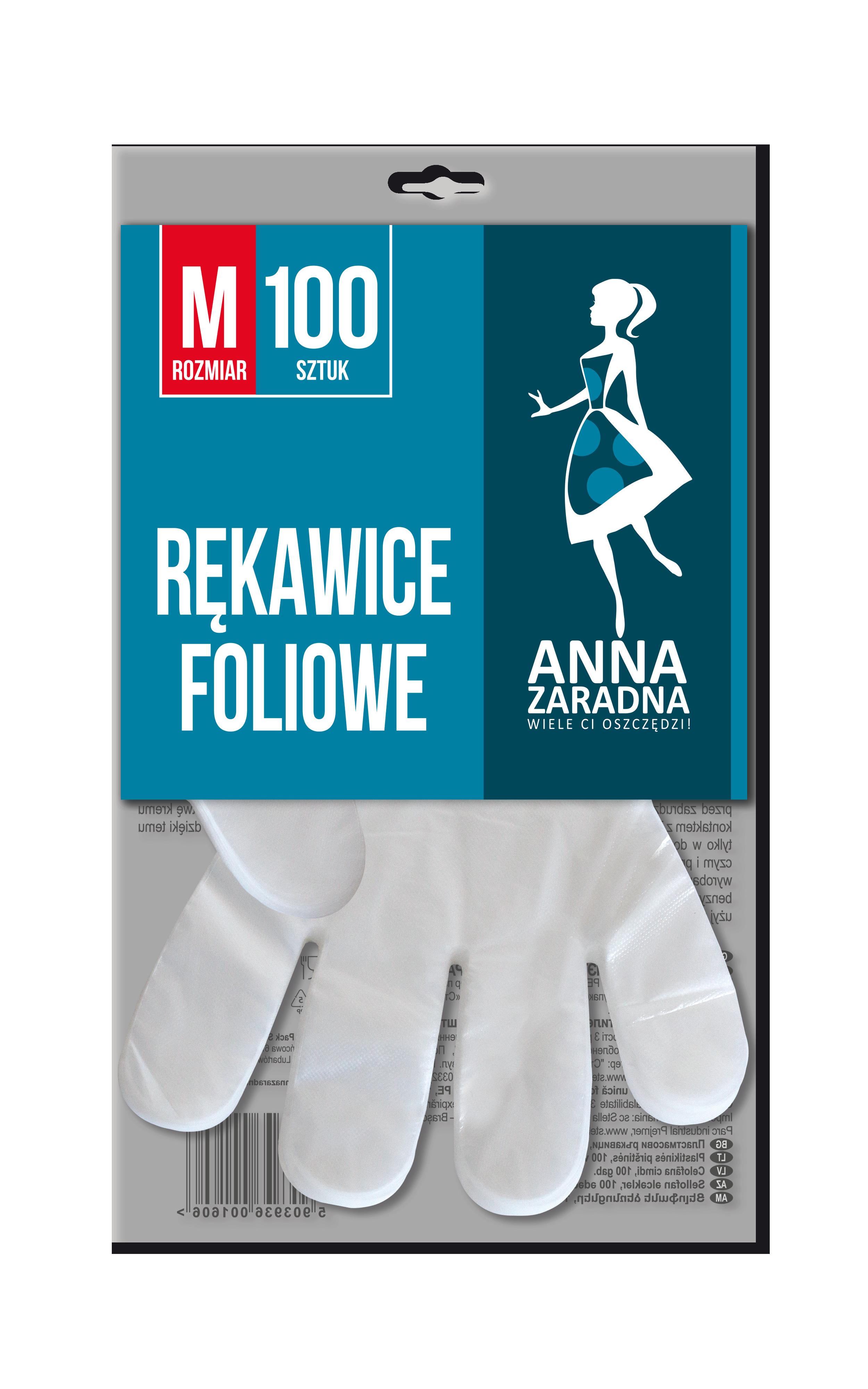 Rękawice foliowe M 100szt. ANNA ZARADNA