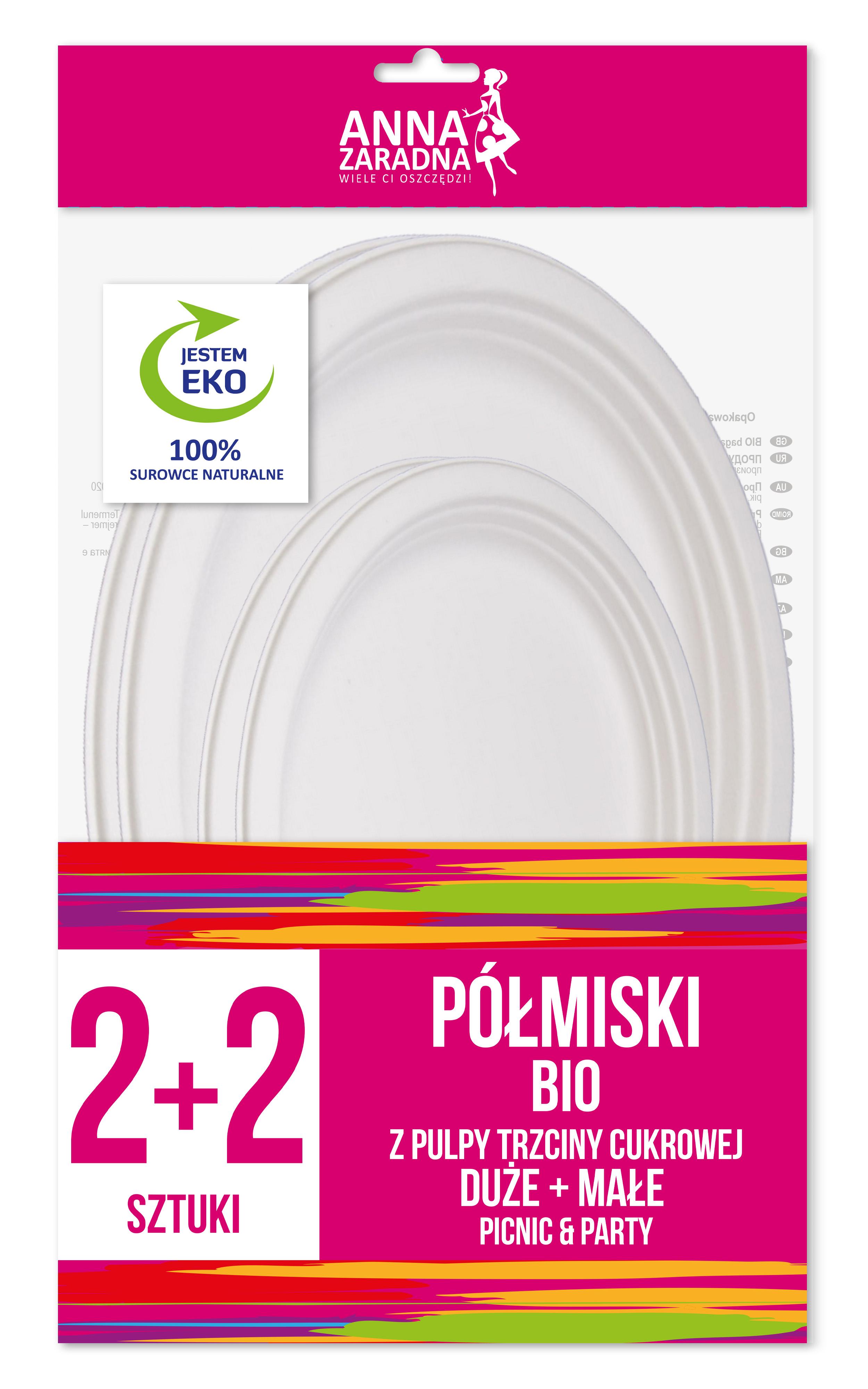 Anna Zaradna Półmiski BIO z pulpy trzciny cukrowej DUŻE 2szt + MAŁE 2szt