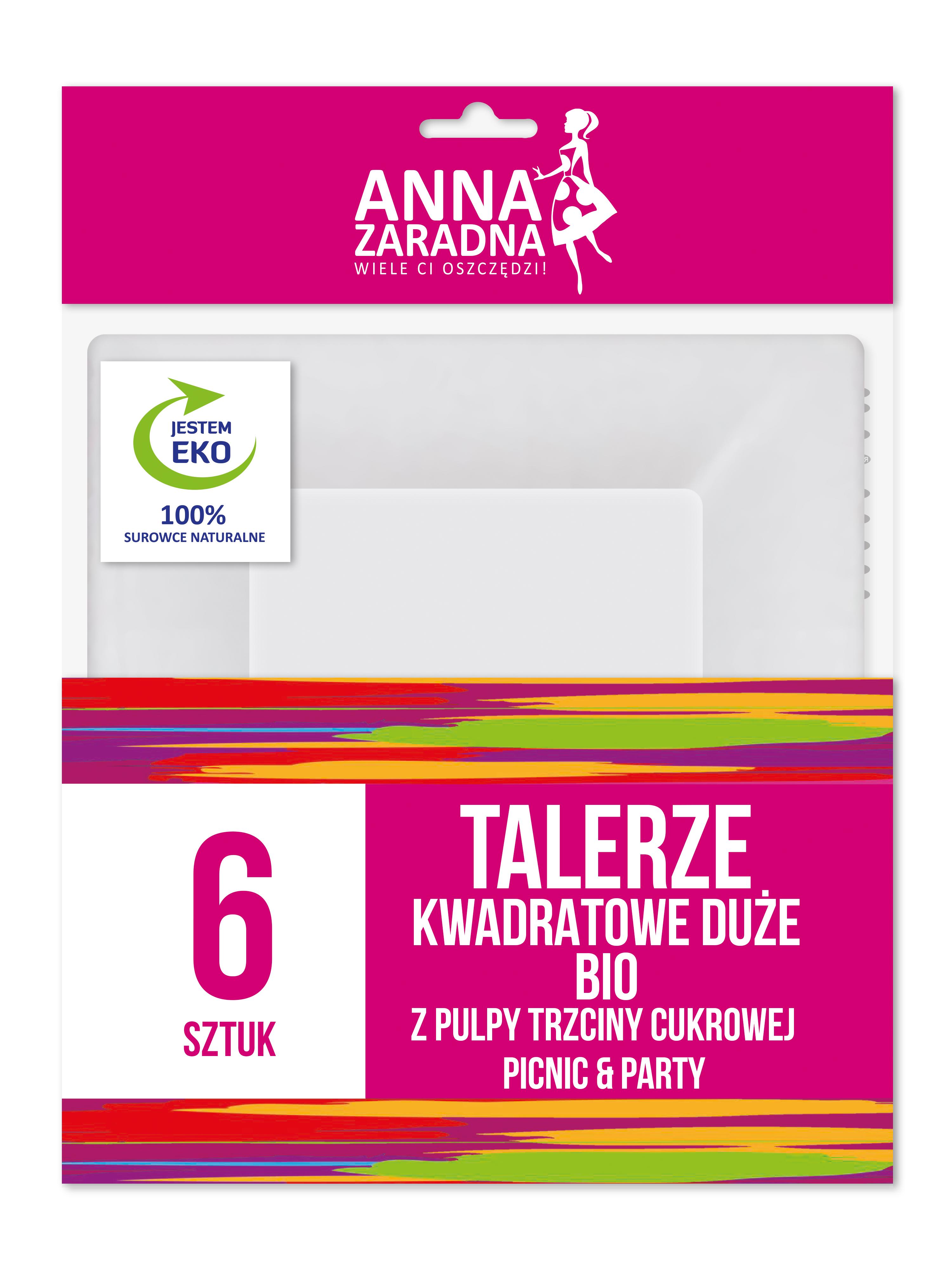 Anna Zaradna Talerze kwadratowe DUŻE BIO z pulpy trzciny cukrowej 6szt