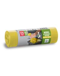 Worki na śmieci DO SEGREGACJI ODPADÓW PLASTIKOWYCH I METALOWYCH LDPE 120L 10szt. żółte ANNA ZARADNA