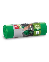 Worki na śmieci DO SEGREGACJI ODPADÓW SZKLANYCH LDPE 120L 10szt. zielone ANNA ZARADNA