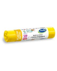 Worki z taśmą ściągającą do segregacji PLASTIK METAL 120L 5szt żółteSTELLA