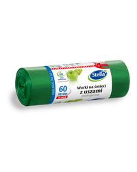 Worki na śmieci z USZAMI EKOLOGICZNE 60L 10szt. zielone (LDPE) STELLA