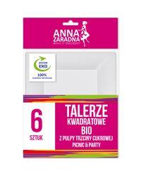 Anna Zaradna Talerze kwadratowe BIO z pulpy trzciny cukrowej 6szt