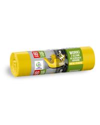 AZ Worki z uszami do segregacji odpadów PLASTIK METAL 60L 16szt żółte